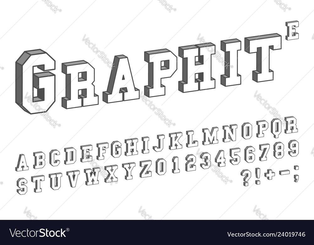 3d letter template  13d font template letters and numbers isometric