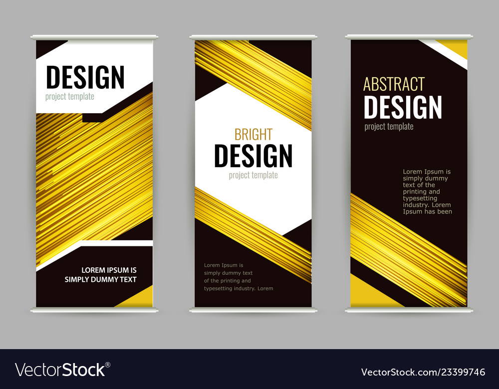 Bright roll-up banner with golden lines on dark