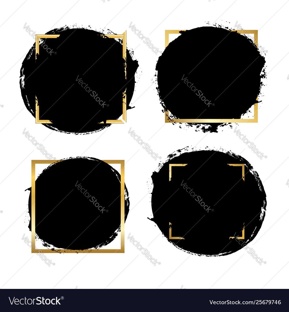 Brush strokes set gold text box isolated white
