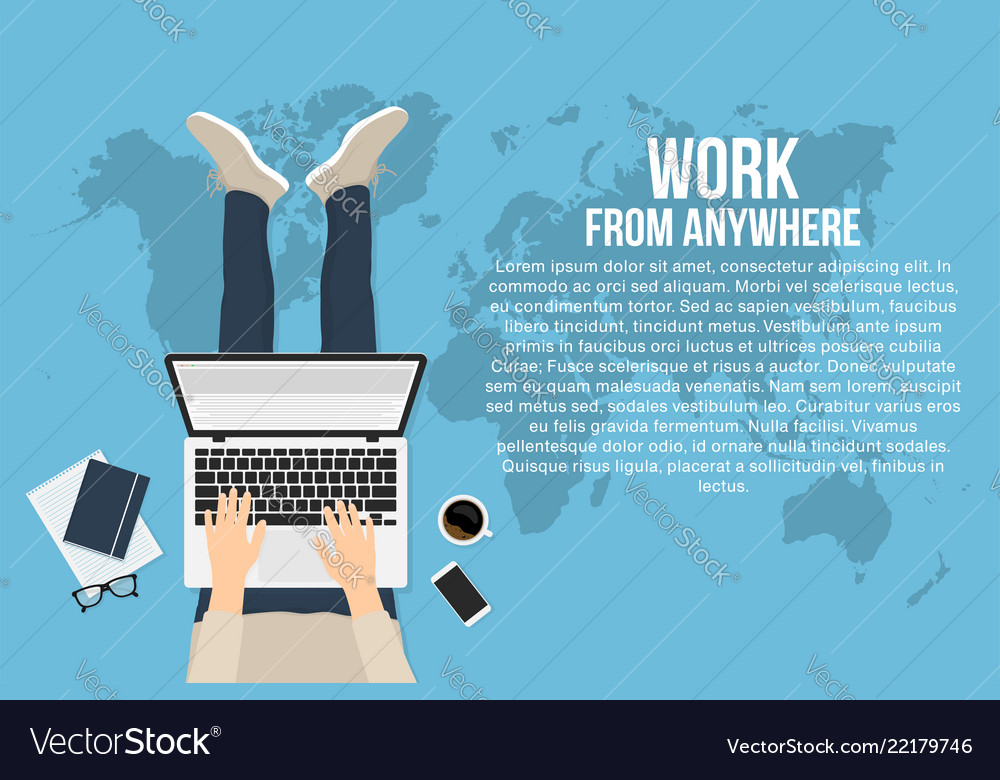 Freelancer is working at home with laptop top