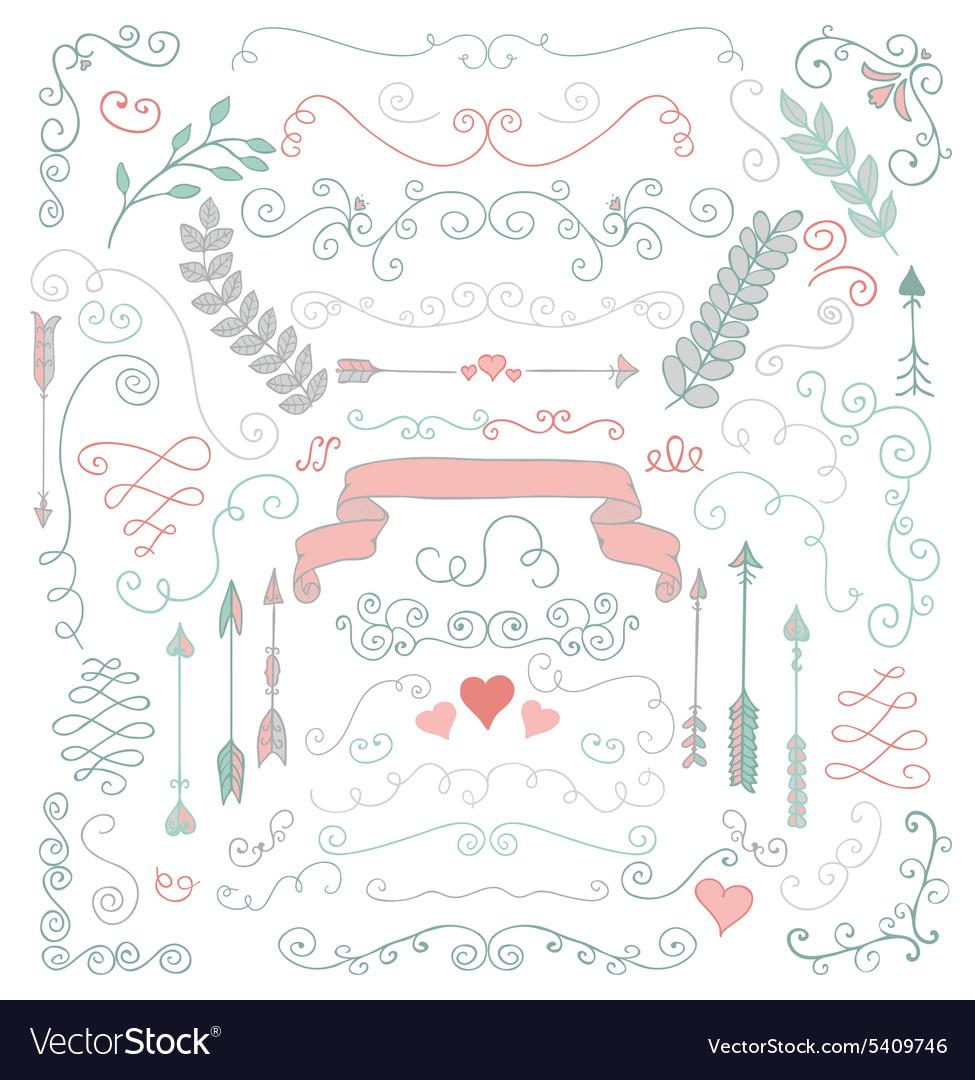 Hand Sketched Rustic Floral Design Elements