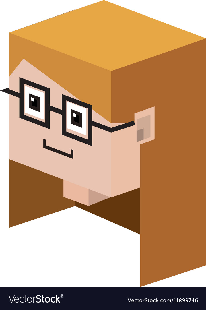 Head lego girl with blonde hair and glasses vector image