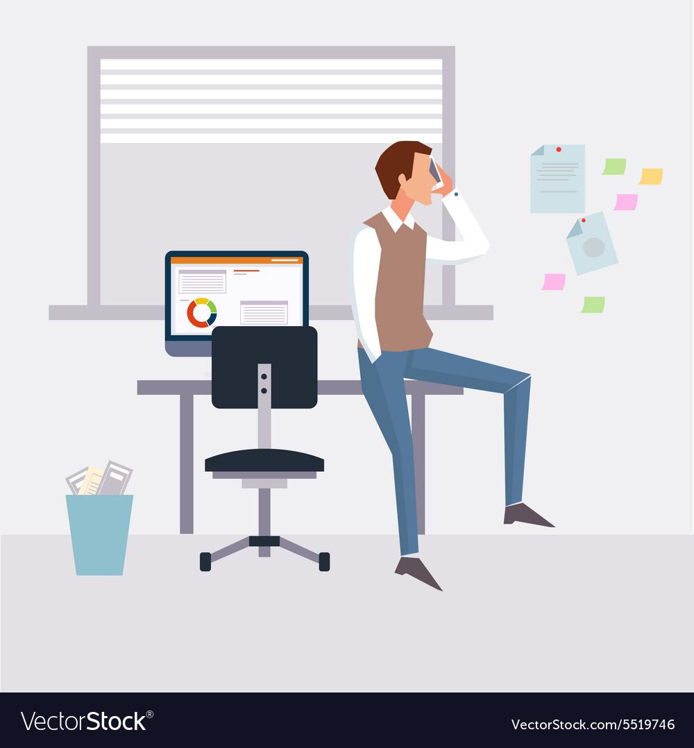 Modern flat character design on businessman