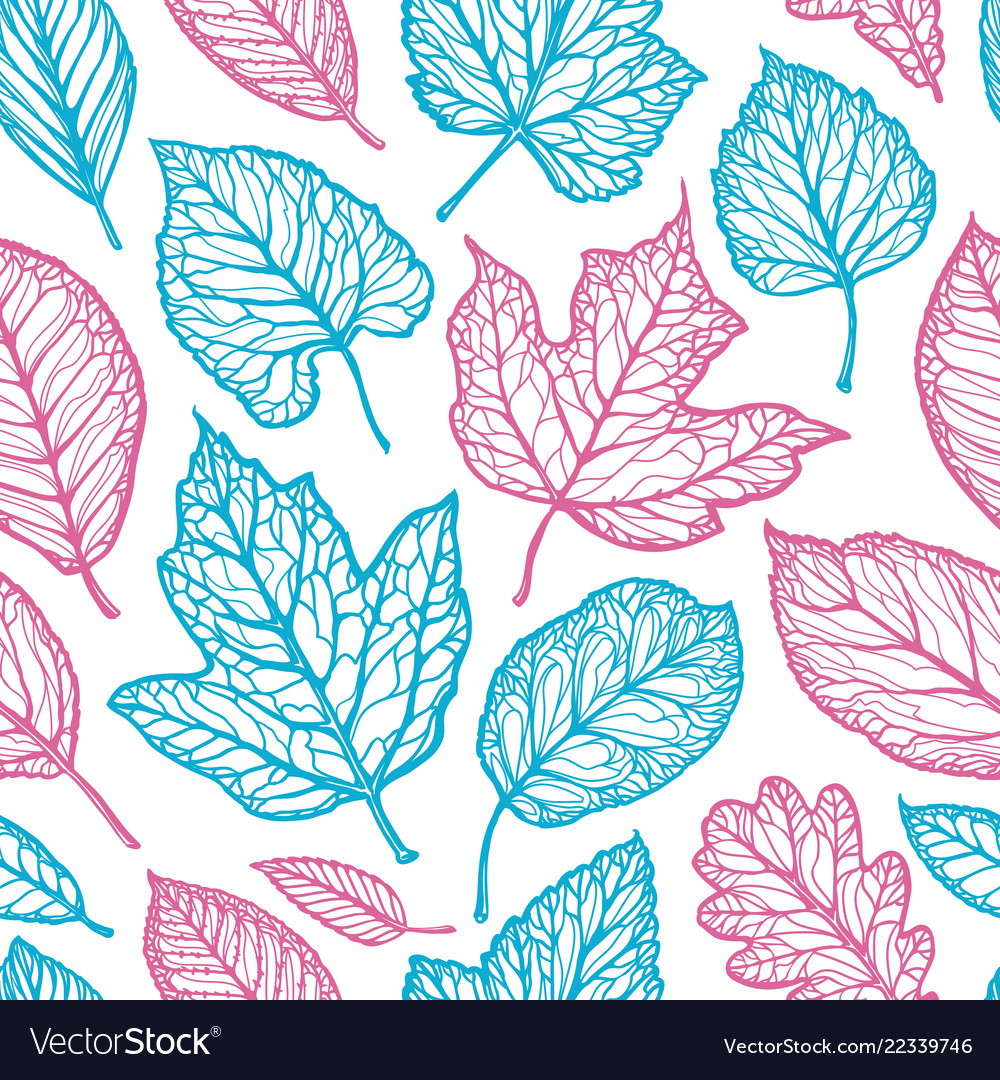 Seamless floral pattern leaves nature backdrop
