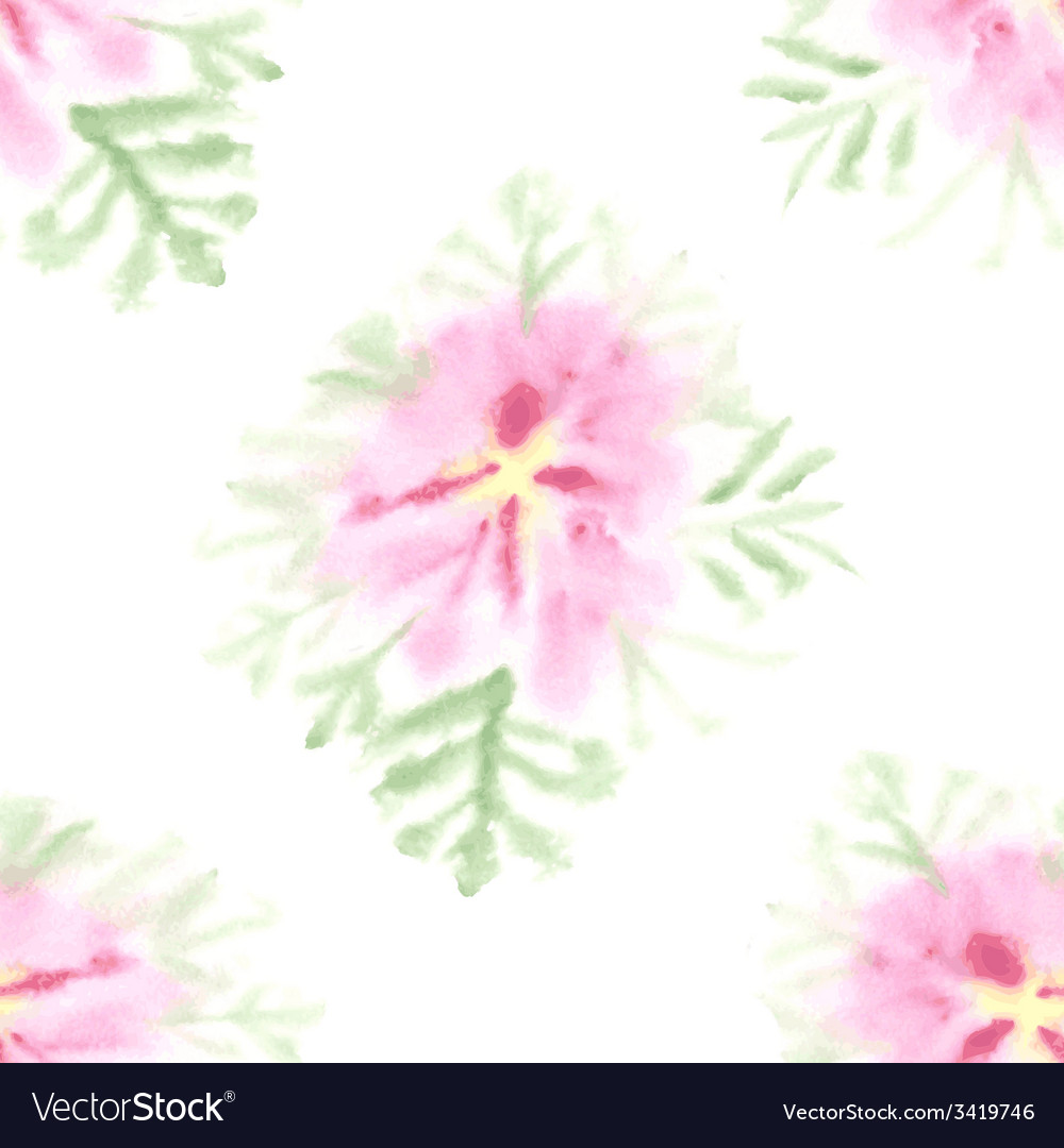 Seamless pattern with gentle watercolor flower