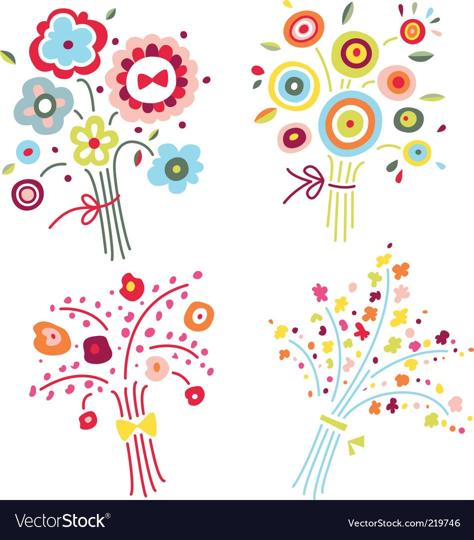 Set of colorful bouquets