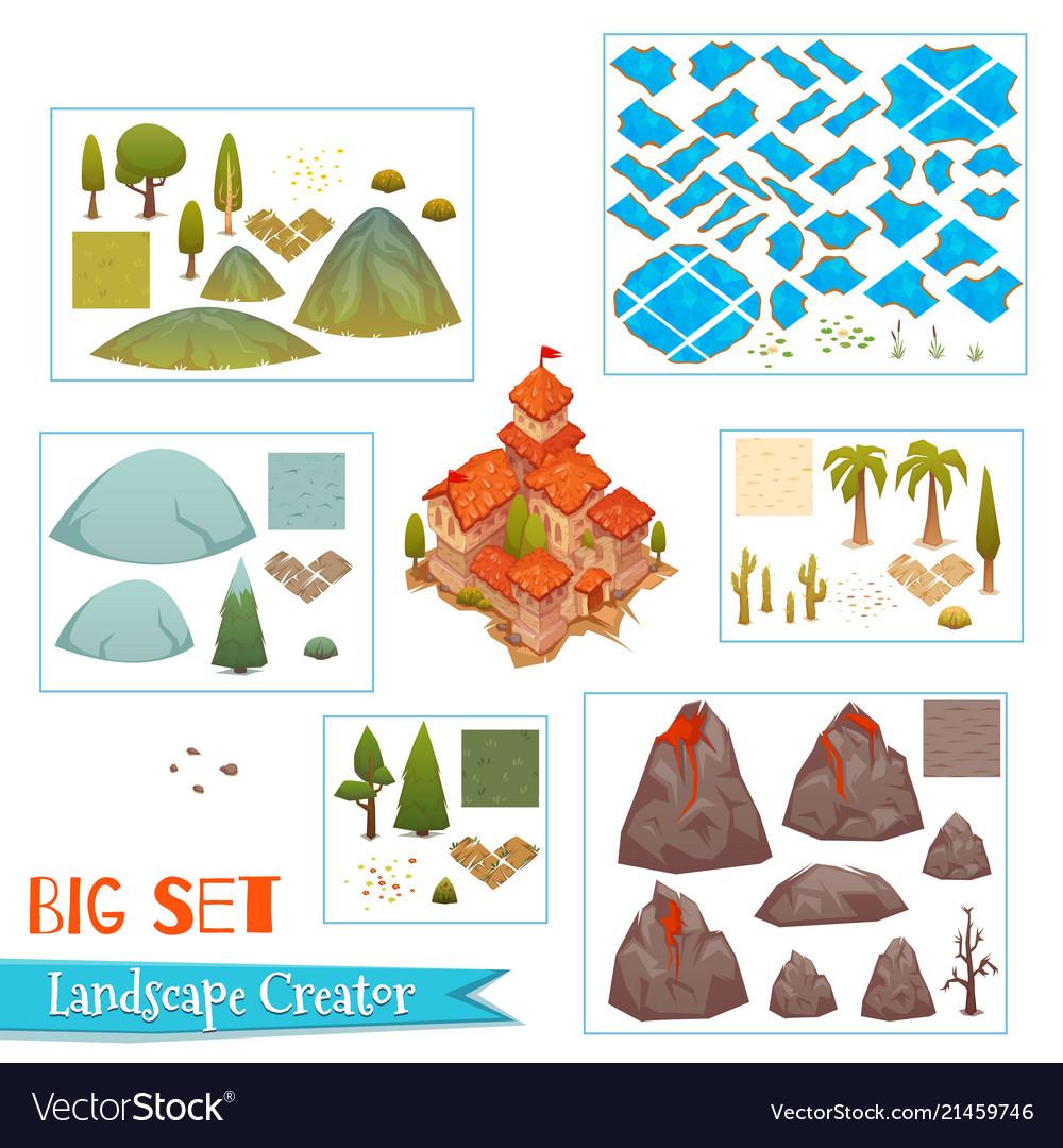 Set of landscape elements