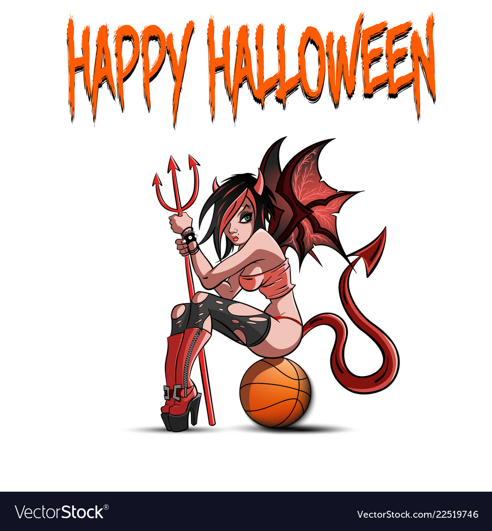 Sexy devil woman sitting on a basketball ball