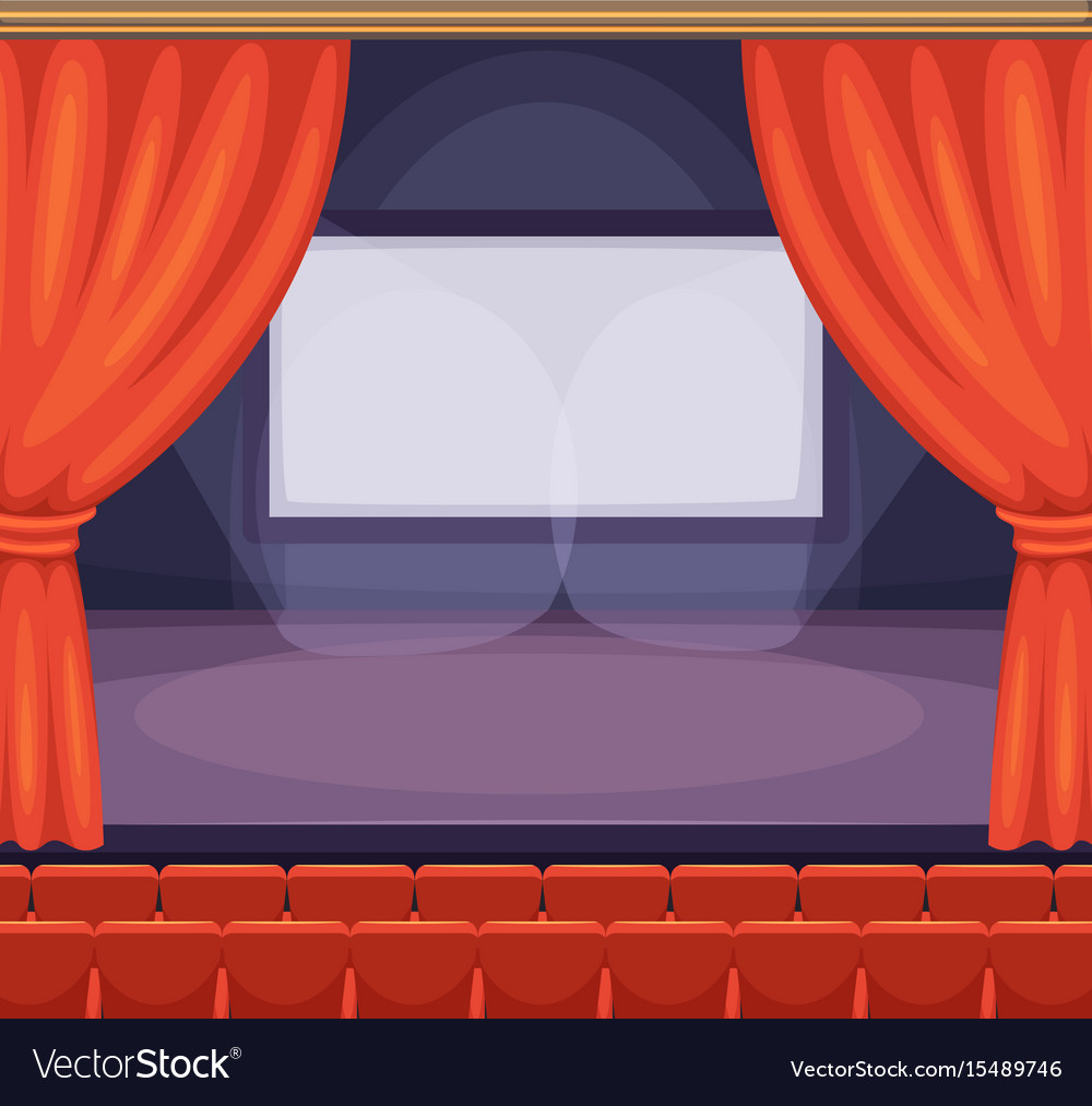 Theatre or cinema stage with red curtains
