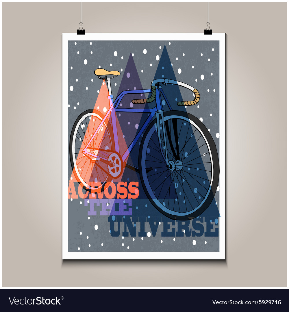 Vintage poster with high detail bicycle vector image