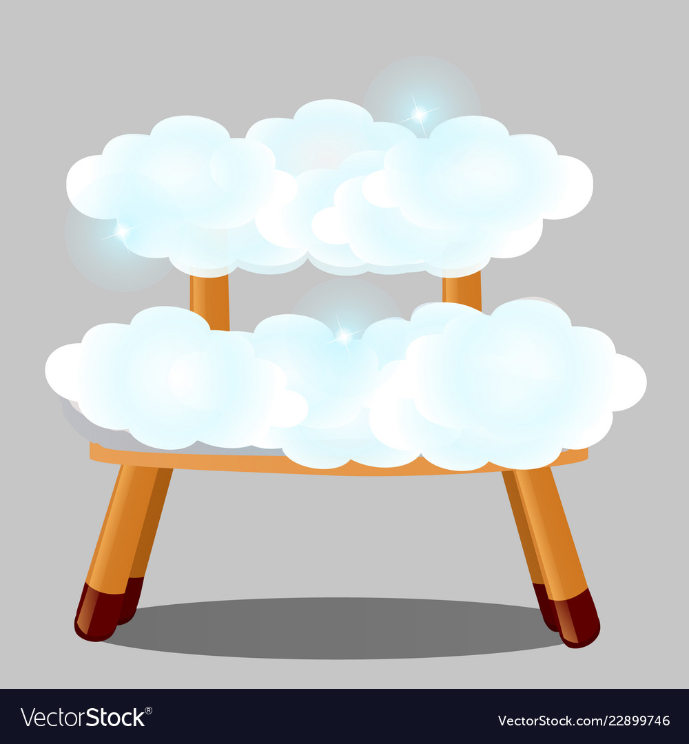 Wooden stool upholstered in clouds isolated on