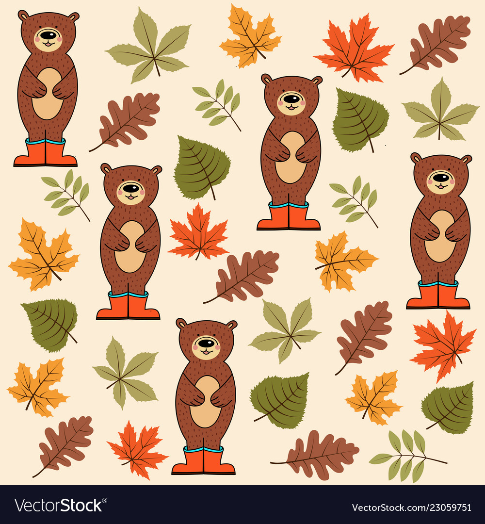 Autumn seamless pattern with leaves and bears