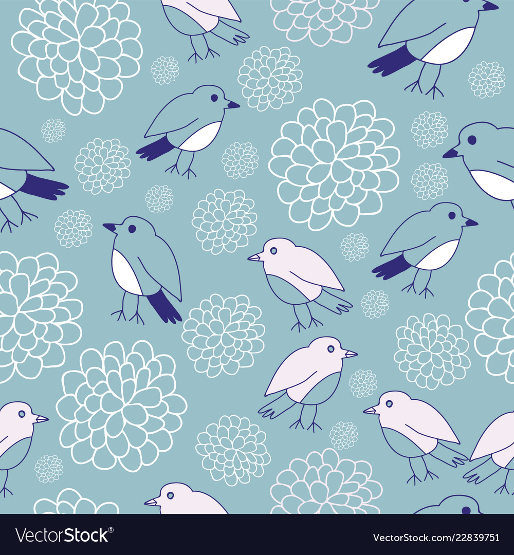 Birds and flowers seamless pattern design