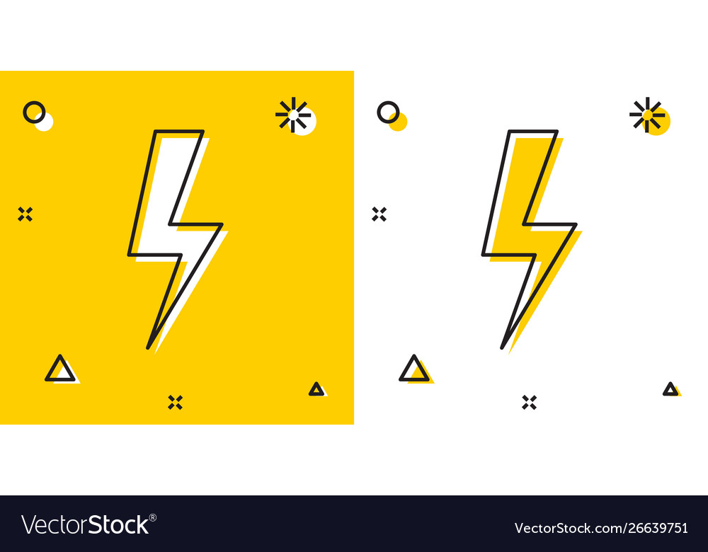 Black Lightning Bolt Icon Isolated On Yellow And Vector Image