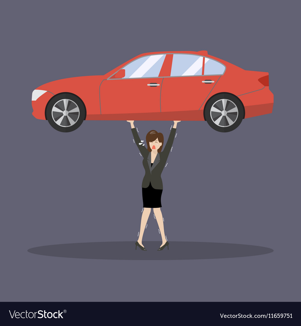 Business woman carry a heavy car