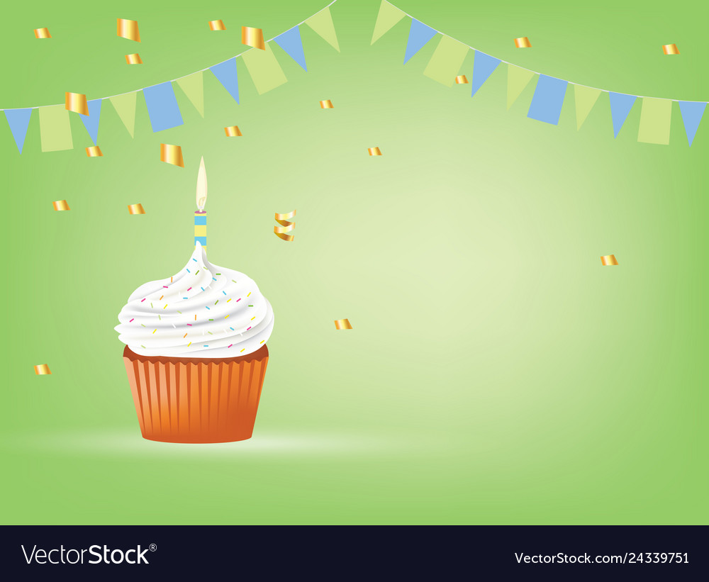 Cupcake with white candle birthday card