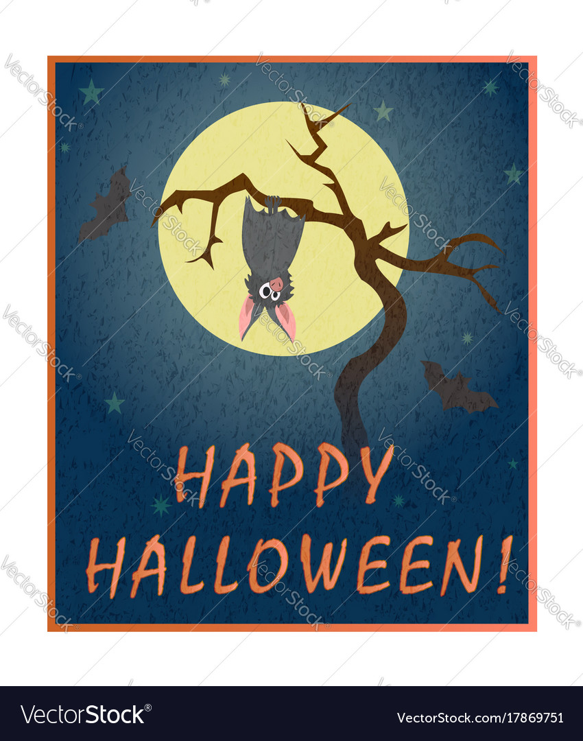 Cute grey bat hanging on a dry tree on background vector image