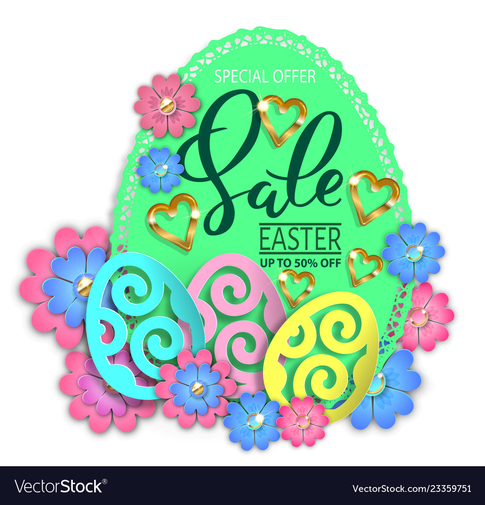 Easter sale paper design egg and flowers