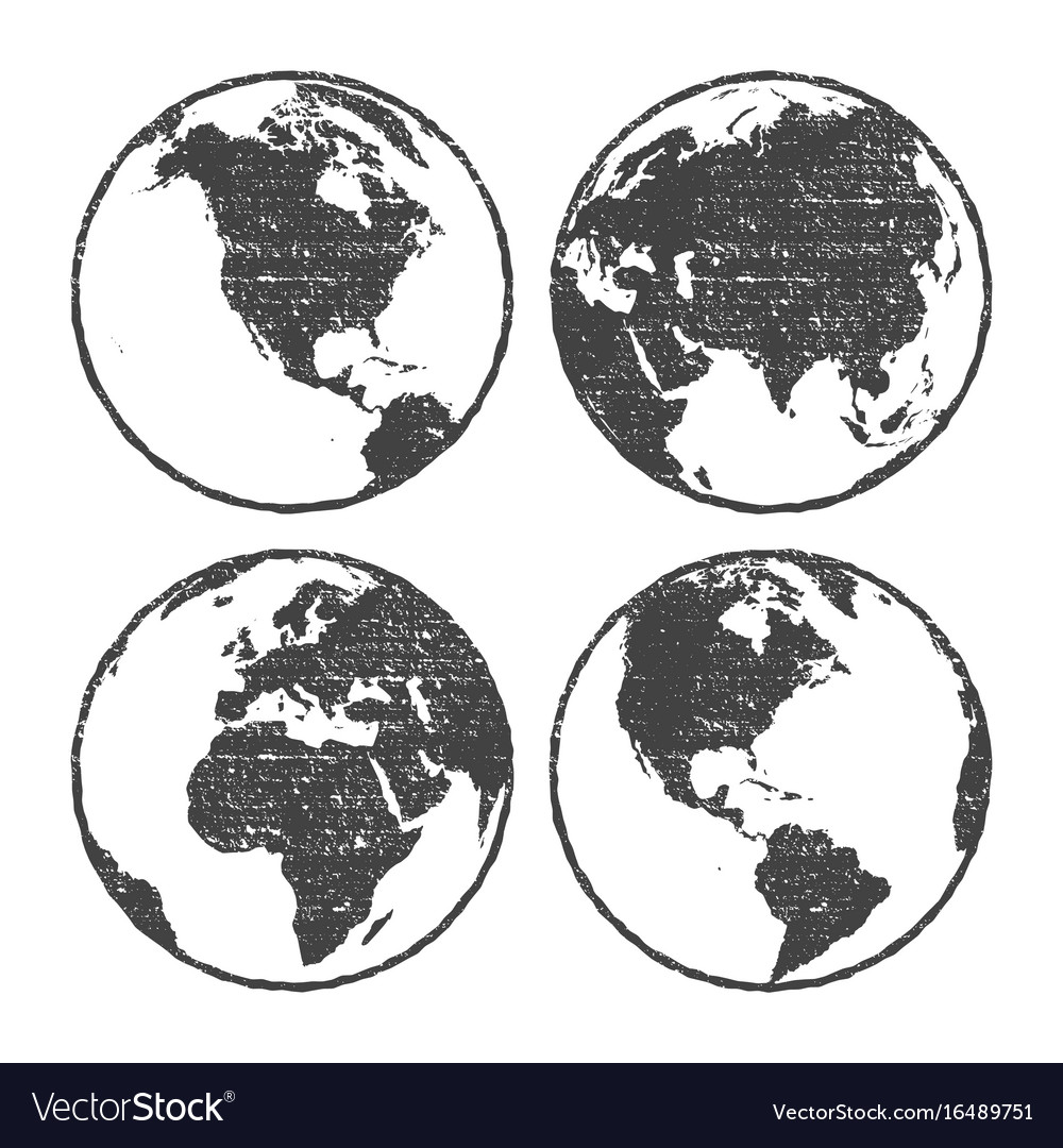 Grunge texture gray world map globe set royalty free vector grunge texture gray world map globe set vector image gumiabroncs Images