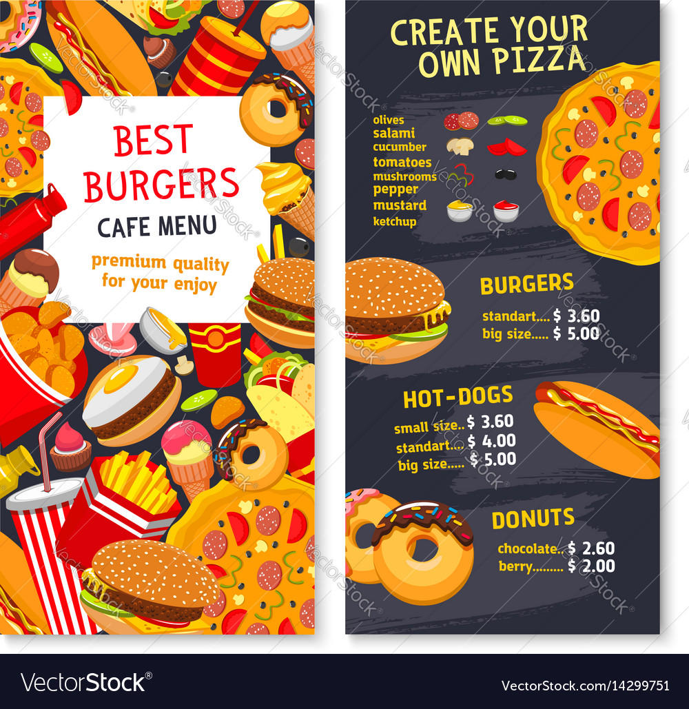 Menu card template for fast food meals