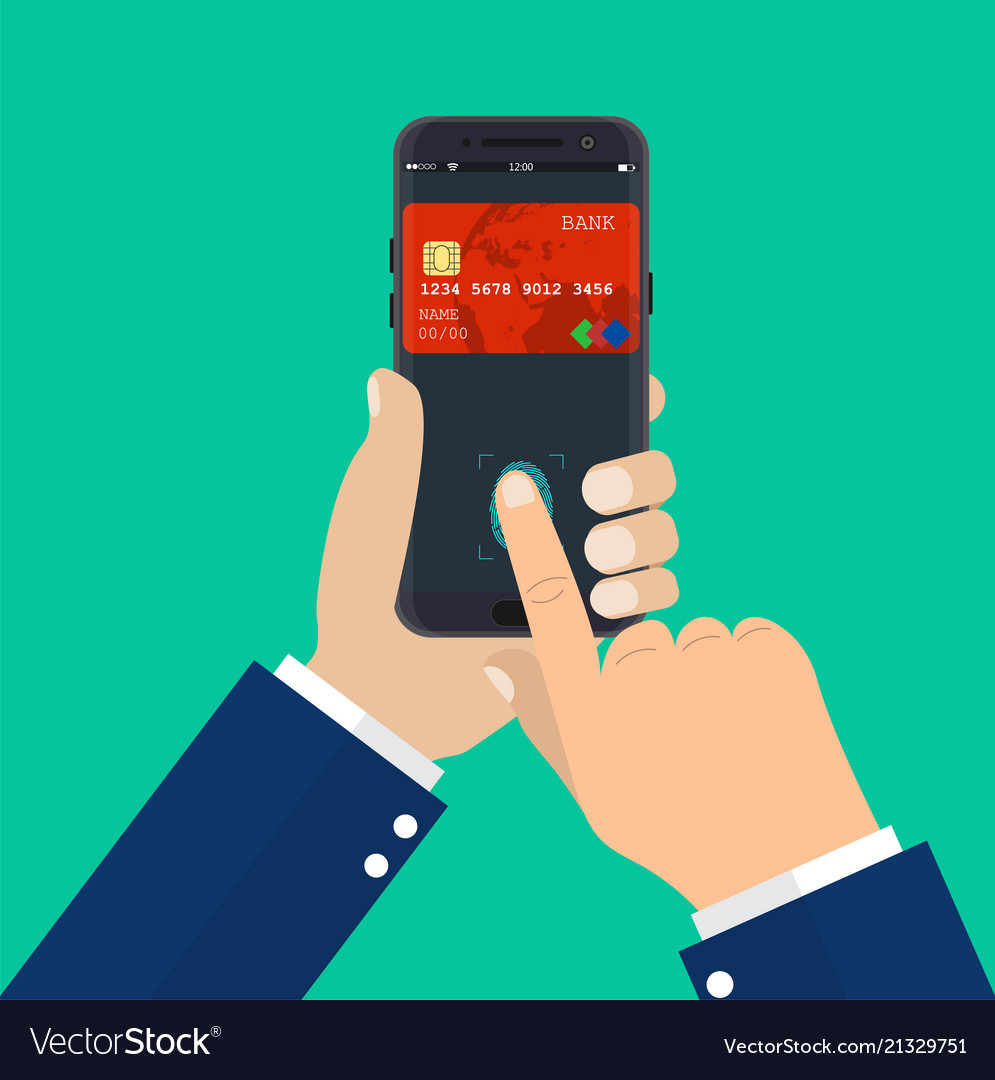 Payment app bank card on smartphone screen