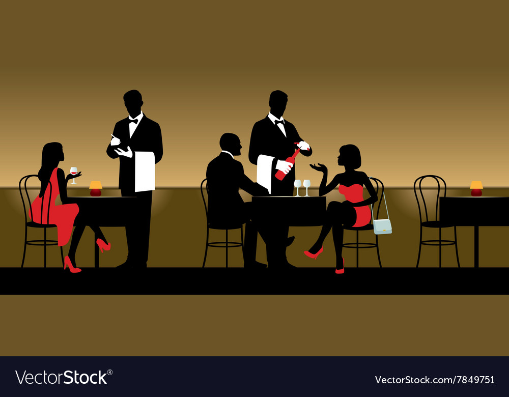 People resting in night club or restaurant