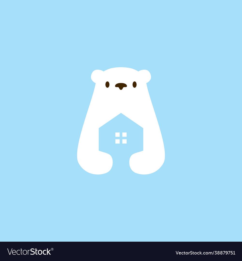 Polar bear house home mortgage architecture logo