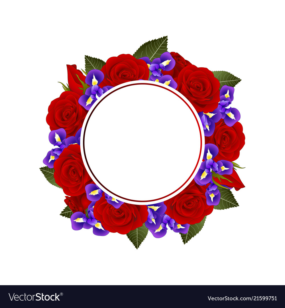Red Rose And Iris Flower Banner Wreath Royalty Free Vector
