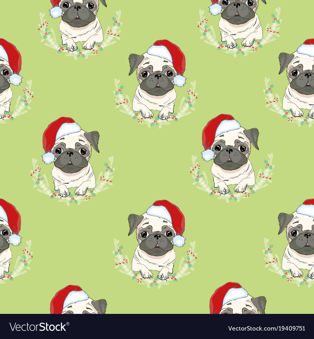 b7280a8a357 Seamless pattern with pug-dog in santas hat and Vector Image