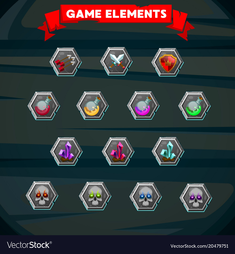 Set of colorful game designing element