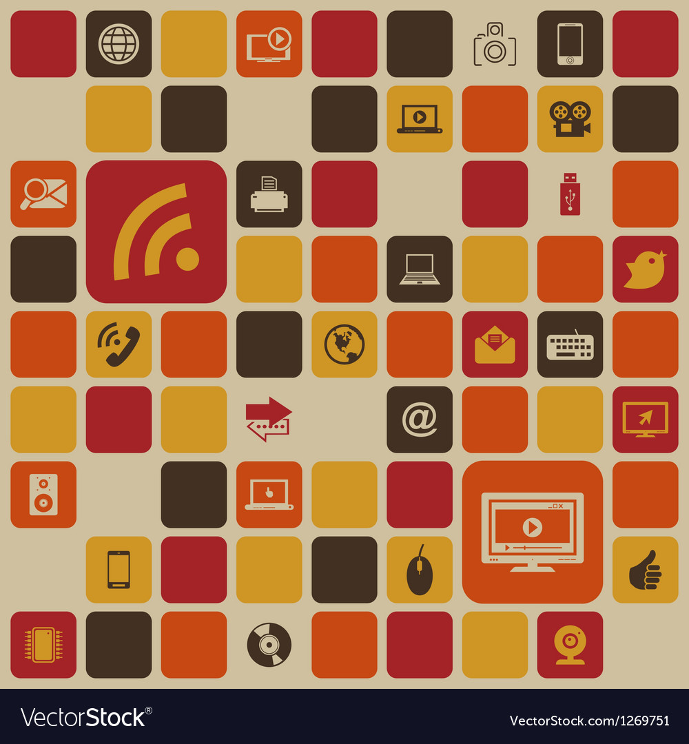 Social media retro background vector image