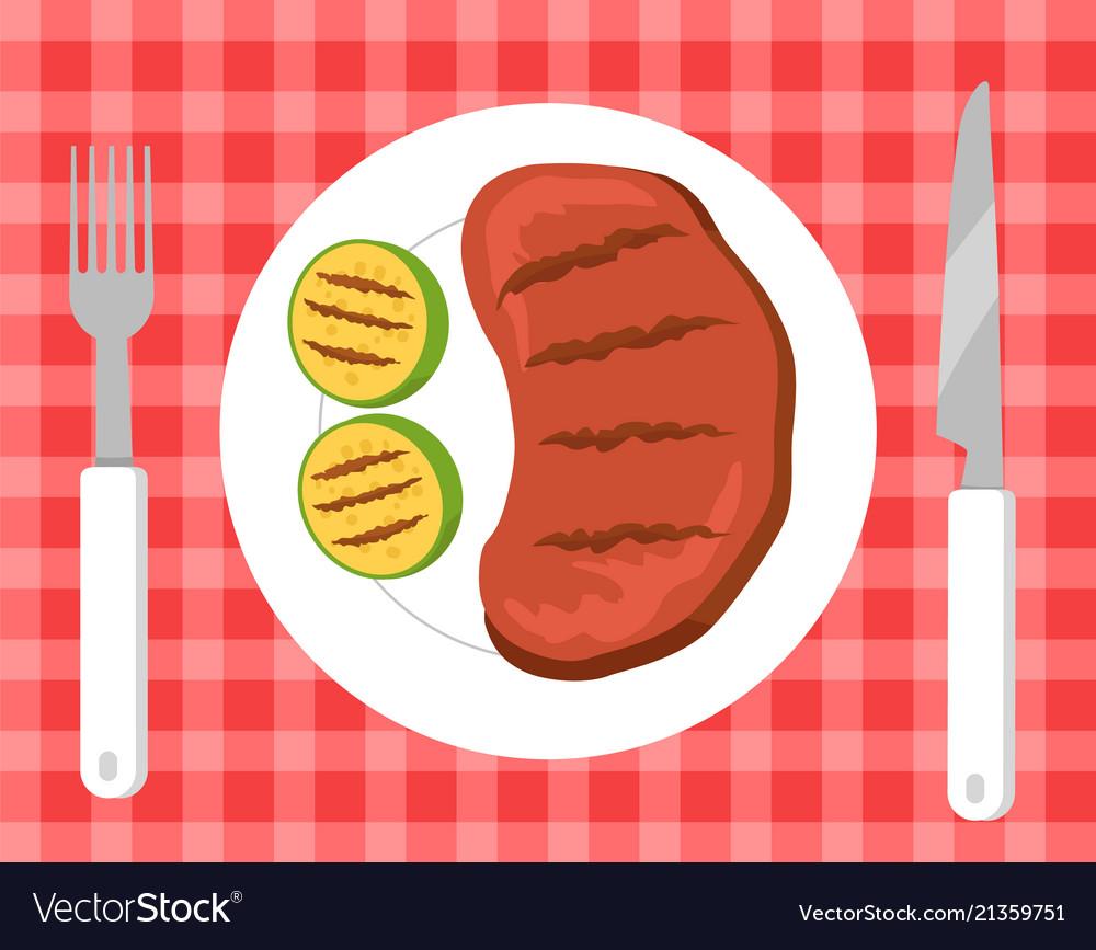 Steak and vegetables picnic