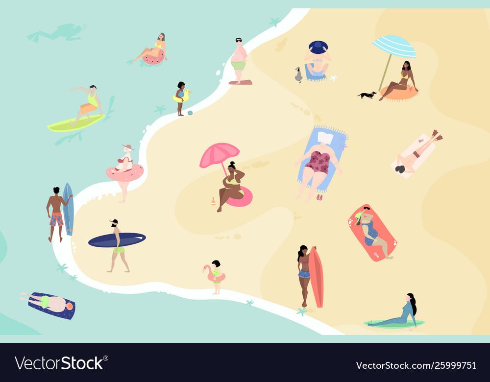 Summertime cartoon people