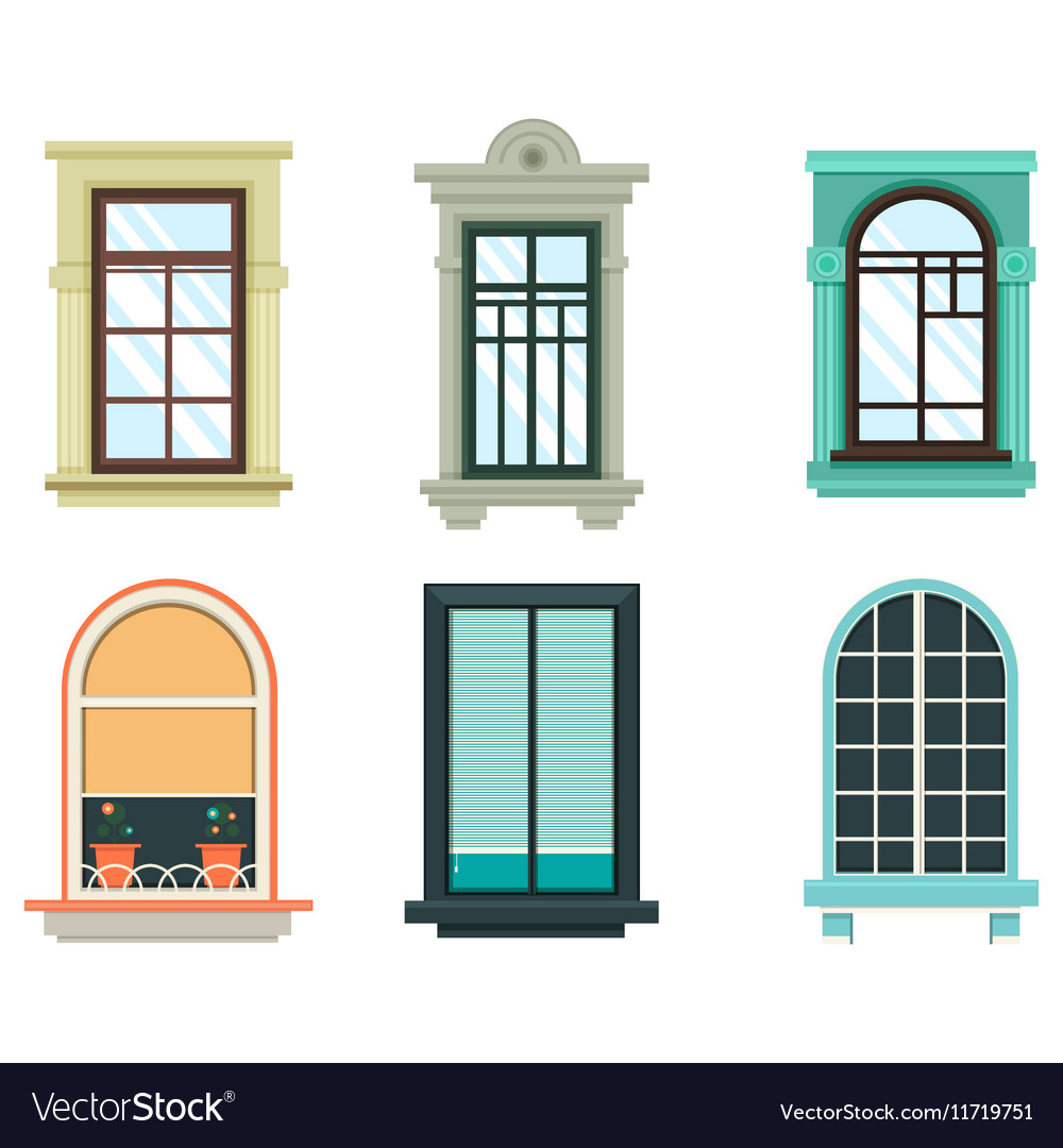 Wood windows frames isolated set exterior view Vector Image