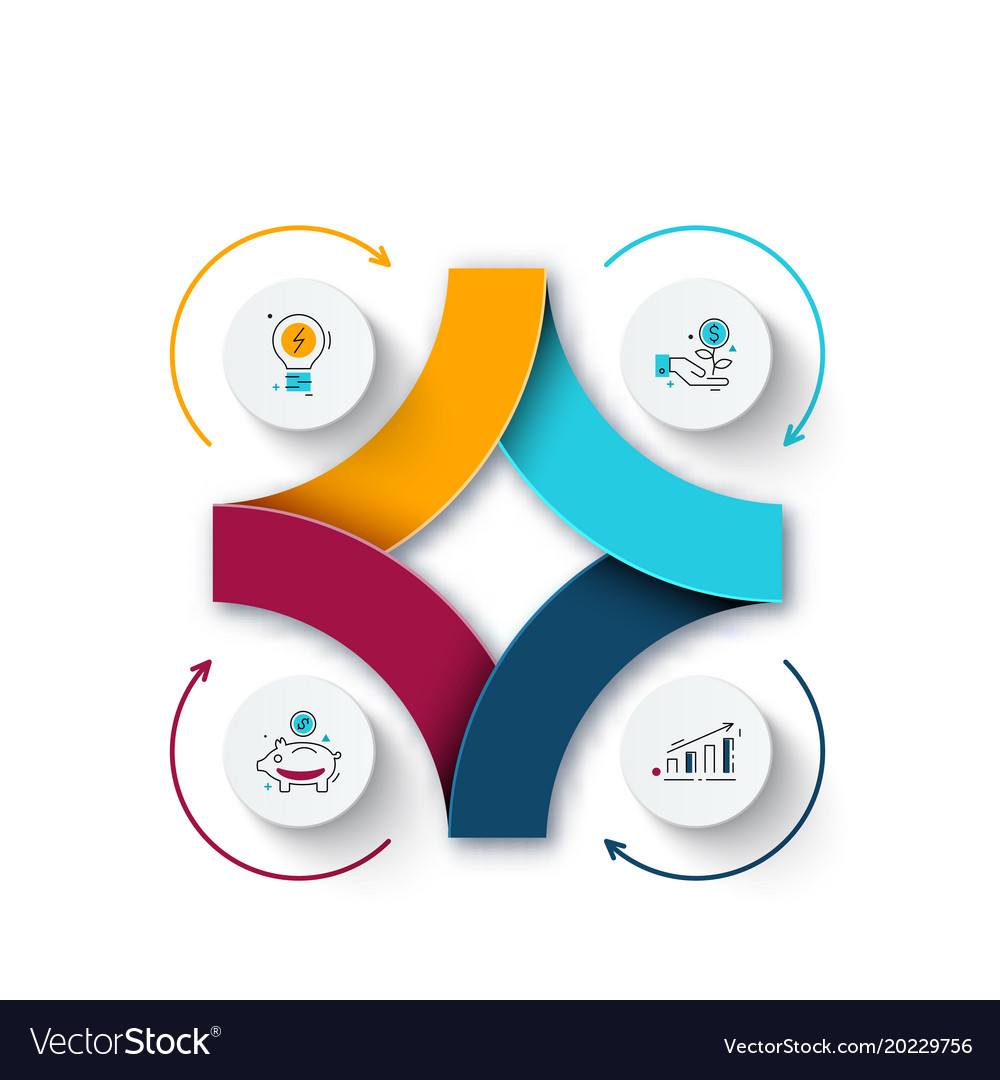 Abstract element of cycle diagram with 4 steps vector image