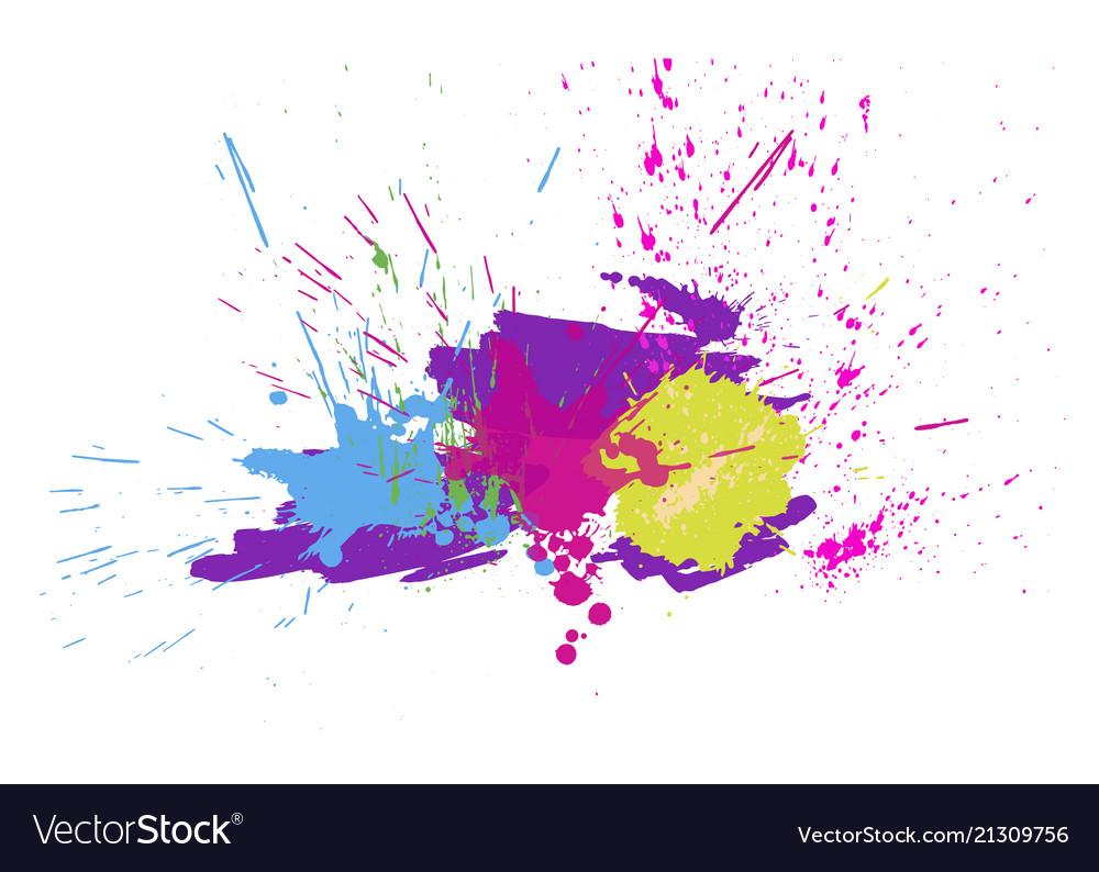 Brigh paint spots on a white background abstract