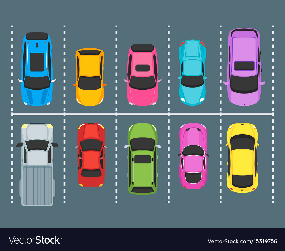 Cartoon parking zones with cars top view