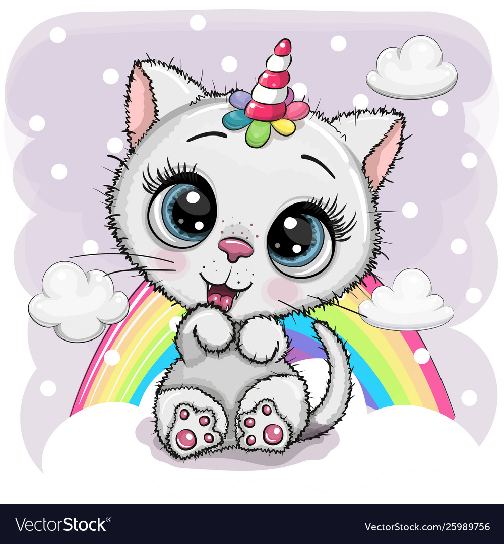 Cartoon white kitten with horn a unicorn