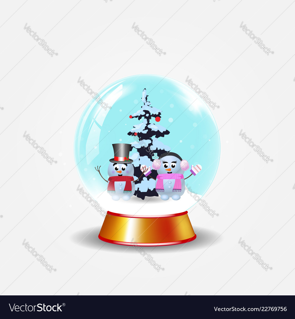 Christmas new year crystal snow globe with cute