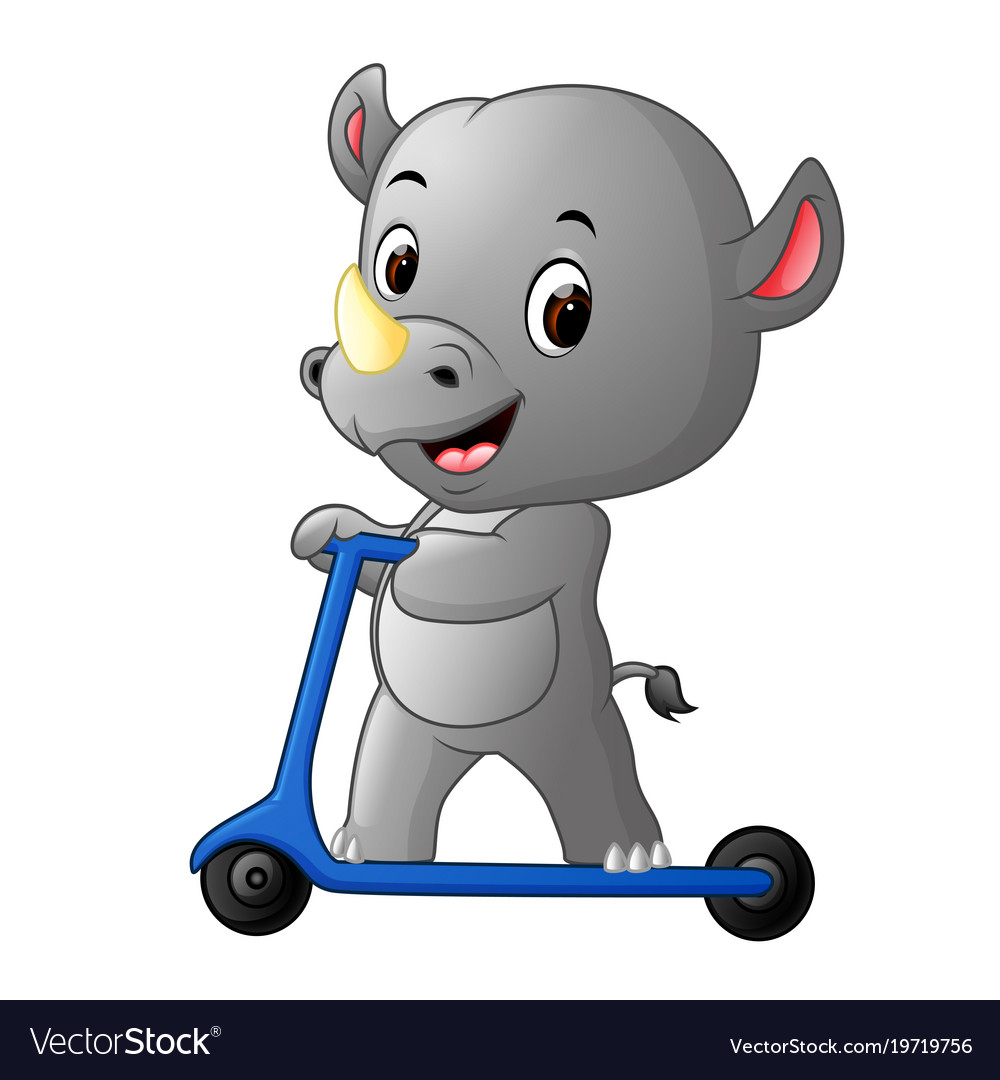 Cute rhino riding push scooter