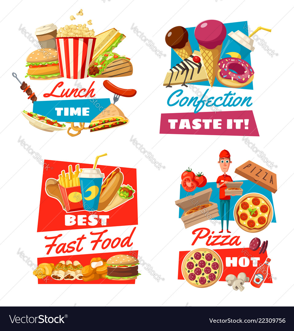 Fast Food And Confectionery For Lunch Time Symbols