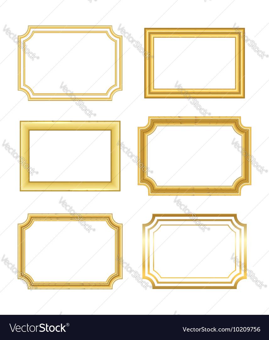 Gold frame simple golden white vector image
