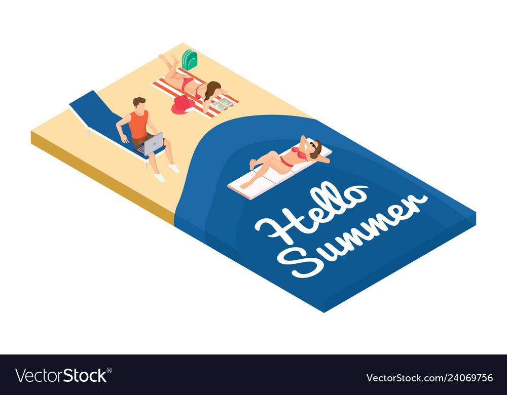 Isometric summer holidays on the beach