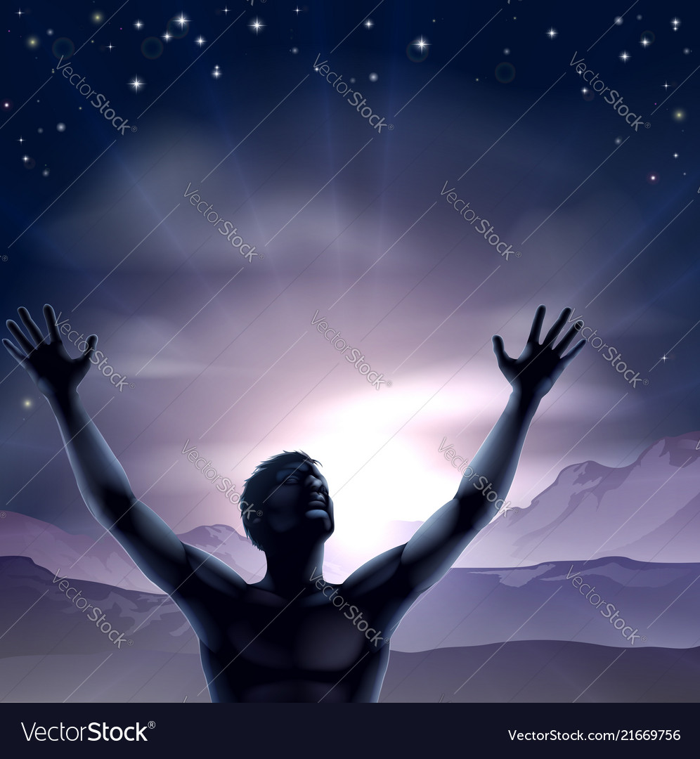 Man silhouette hands stretched up vector