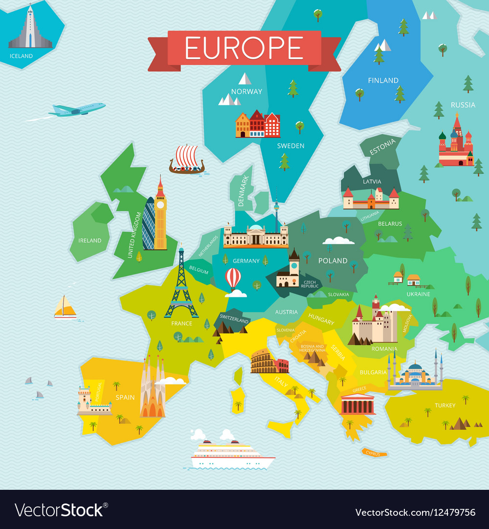 tourist map of europe pdf Map europe with names Royalty Free Vector Image