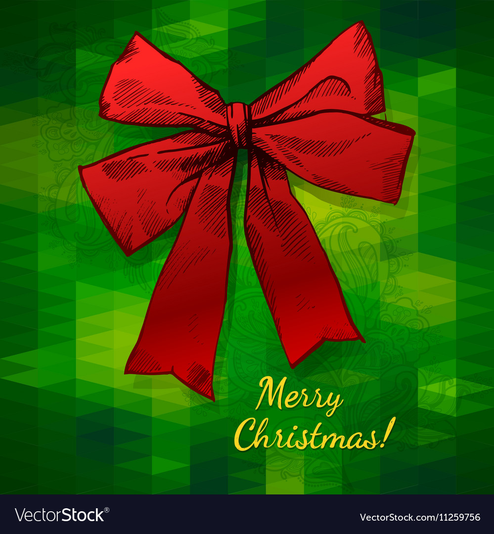 Merry Christmas Hand Drawn Bow