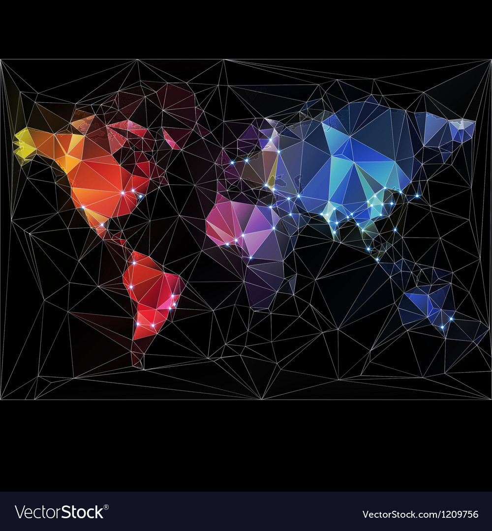 Night World Map with largest cities in the world vector image