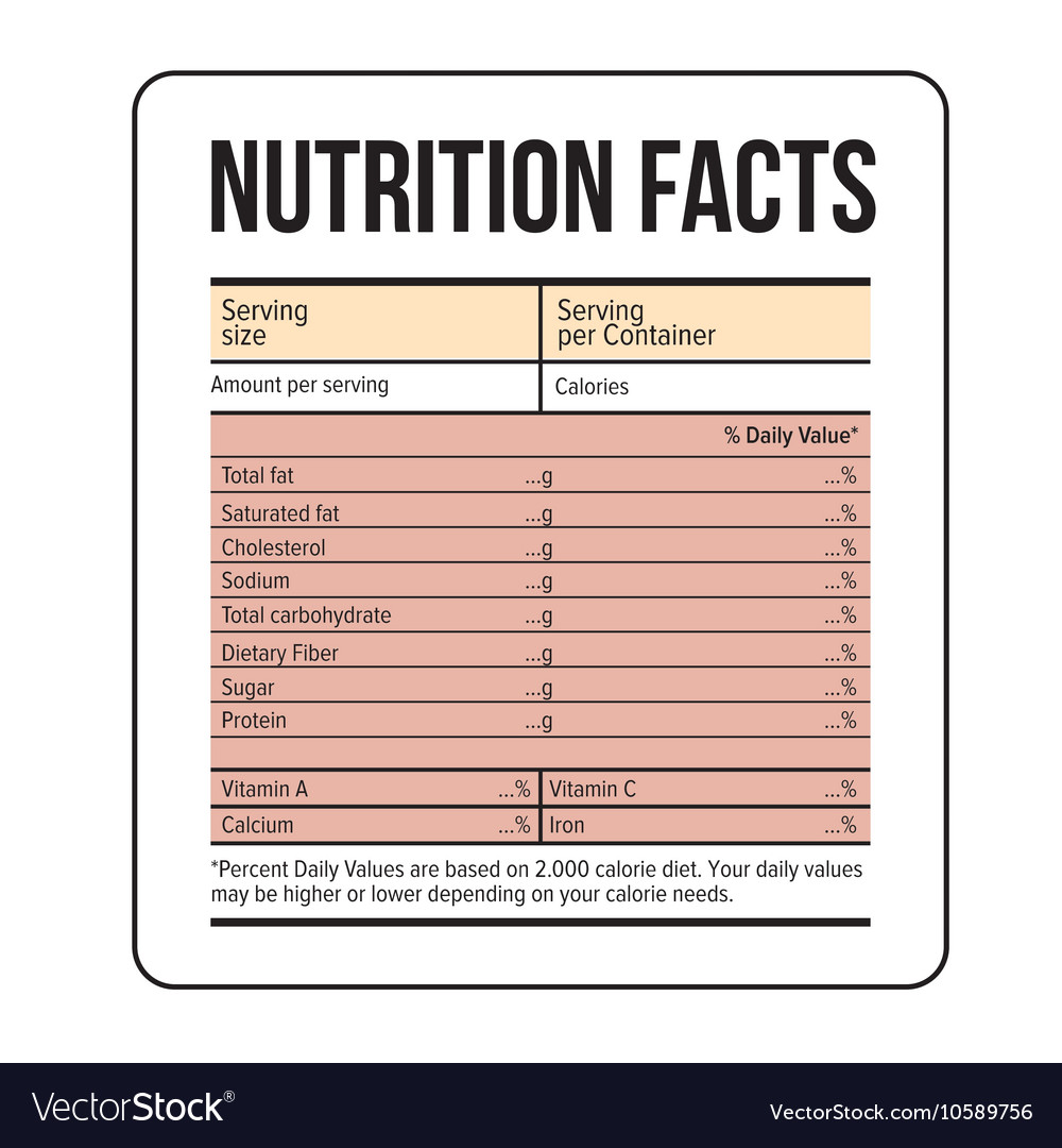 nutrition facts label template vector besto blog. Black Bedroom Furniture Sets. Home Design Ideas
