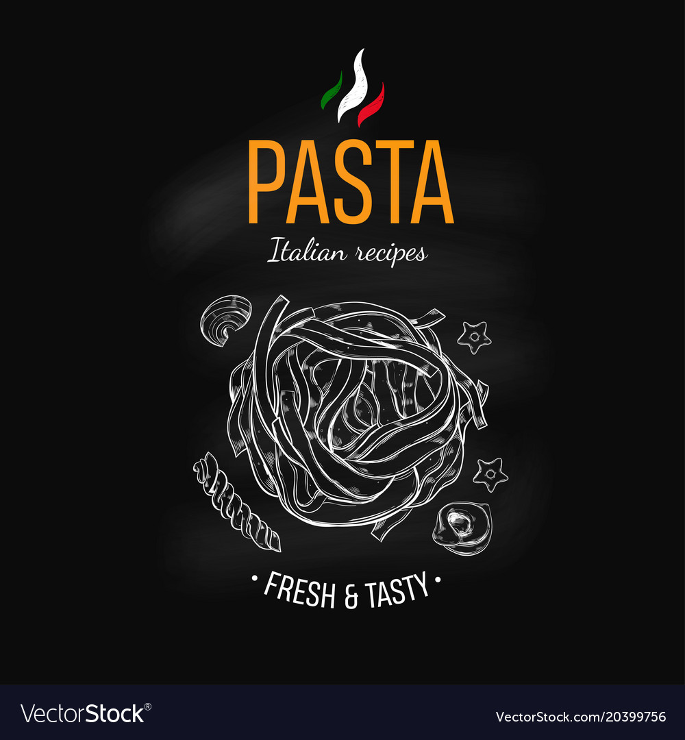 pasta design template on chalkboard royalty free vector