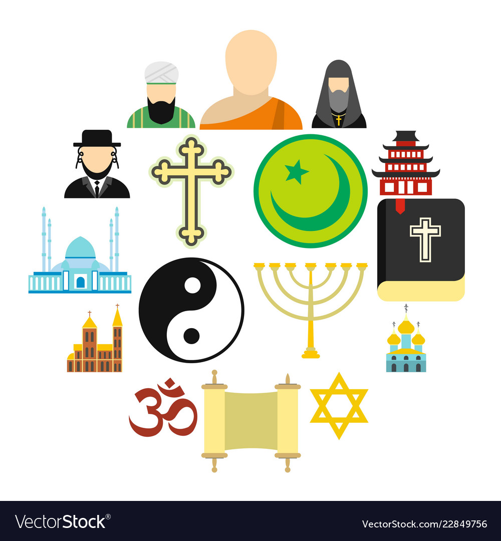 Religion flat icons set